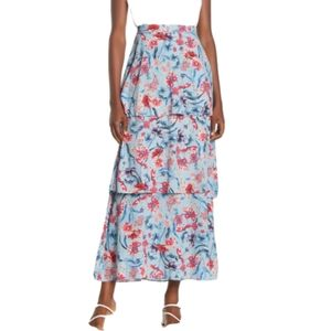 NWT Willow + Clay Floral Tiered Midi Skirt, S